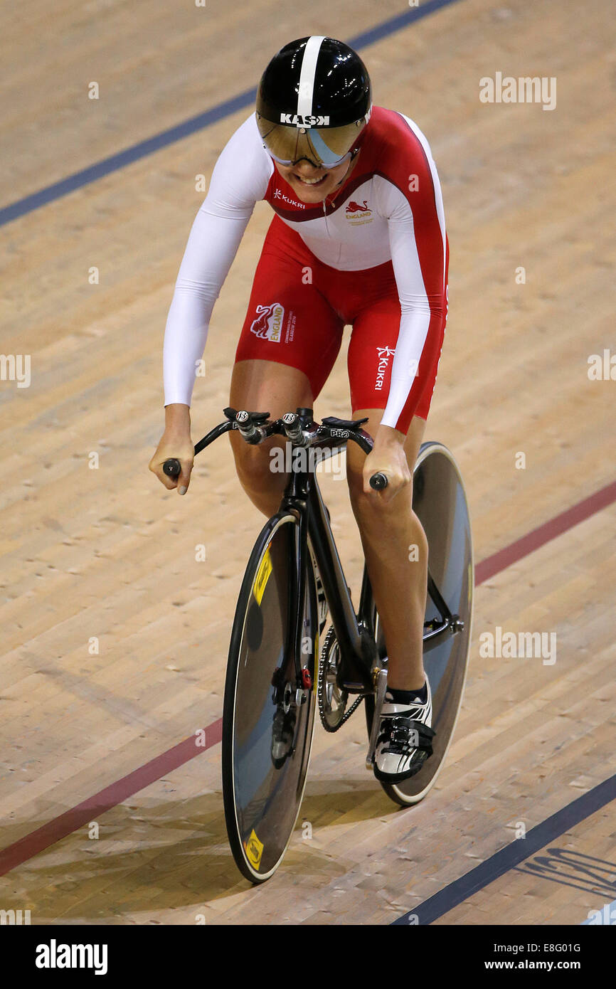 Jess Varnish (ENG) competes. Cycling - Womens 500m Time Trial - Sir Chris Hoy Velodrome - Glasgow - UK - 24/07/2014 - Stock Image