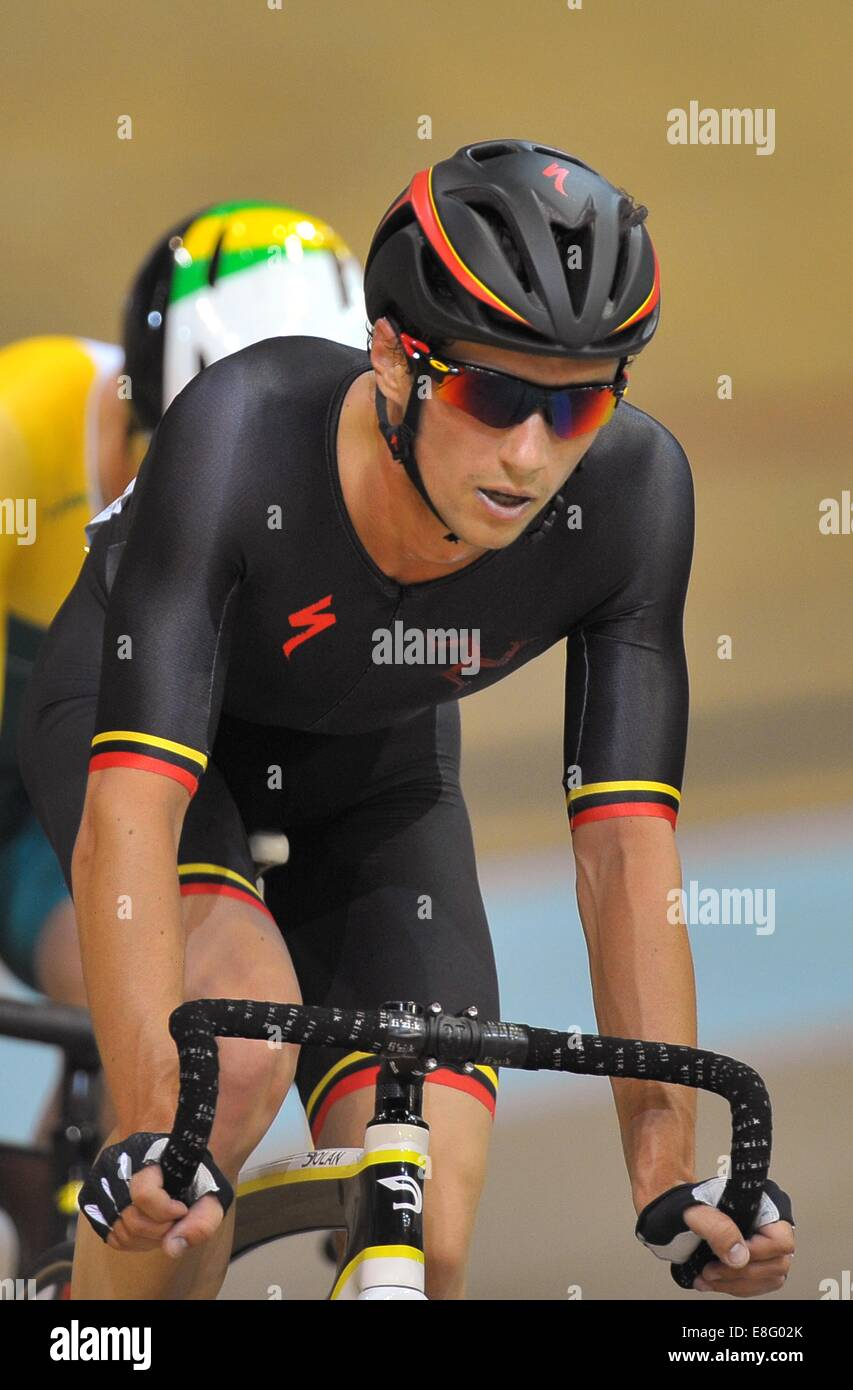 Joseph Kelly (IOM). Mens 40Km points race. Track Cycling - Sir Chris Hoy Velodrome - Glasgow - UK - 26/07/2014  Stock Photo