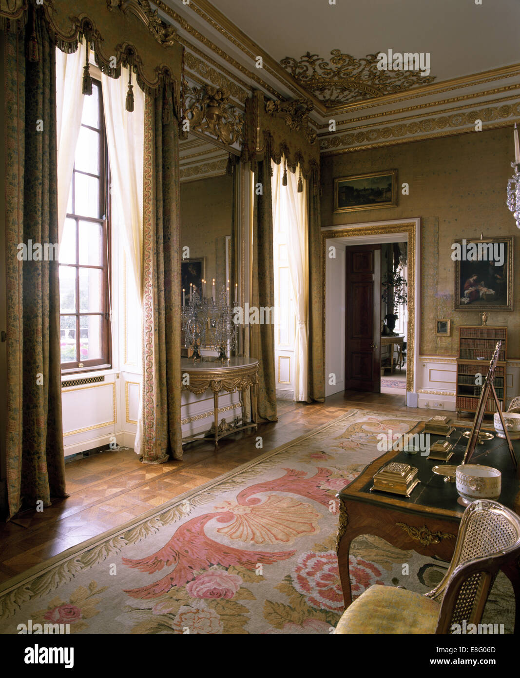 House Room Drawings: Ornate Pelmets On Tall Windows In Stately Home Drawing