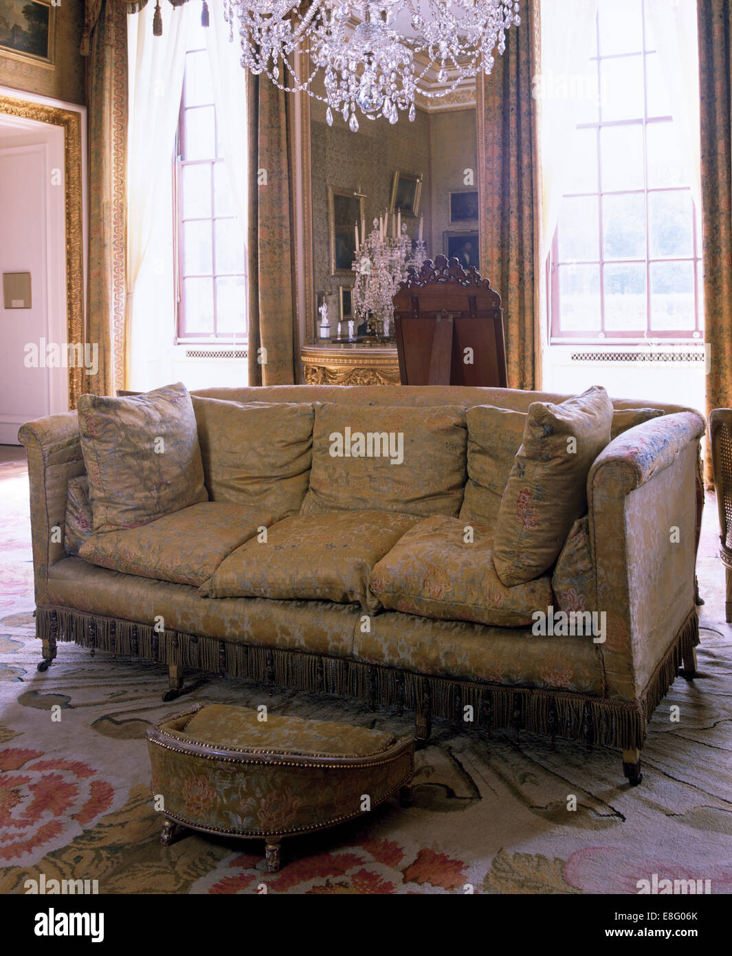 Brocade Sofa In Stately Home Drawing Room
