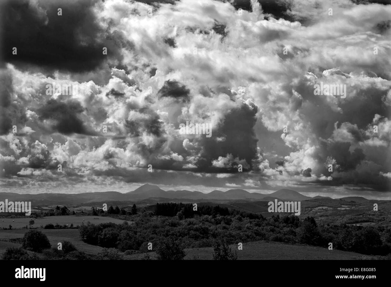 France. Puy de Dome range in the Massif Central in the Auvergne, central France. September 2014 - Stock Image