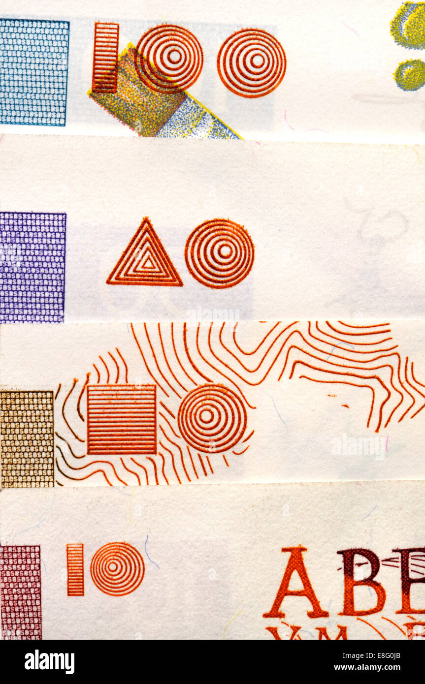 Detail of Slovenian banknotes (before joining the Euro) showing the blind code, raised intaglio printing helping - Stock Image