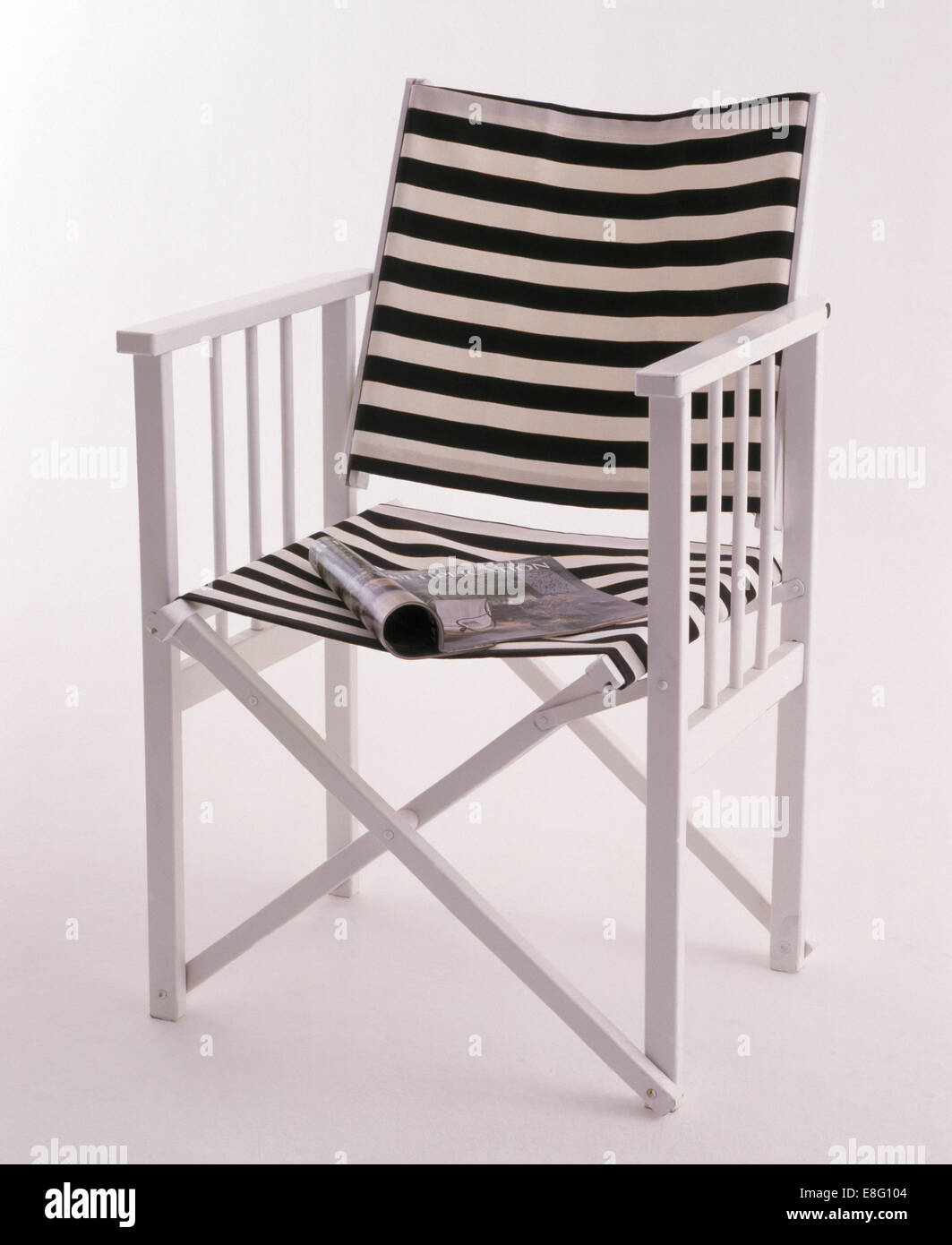 Directoru0027s Chair With Black+white Striped Canvas Back And Seat