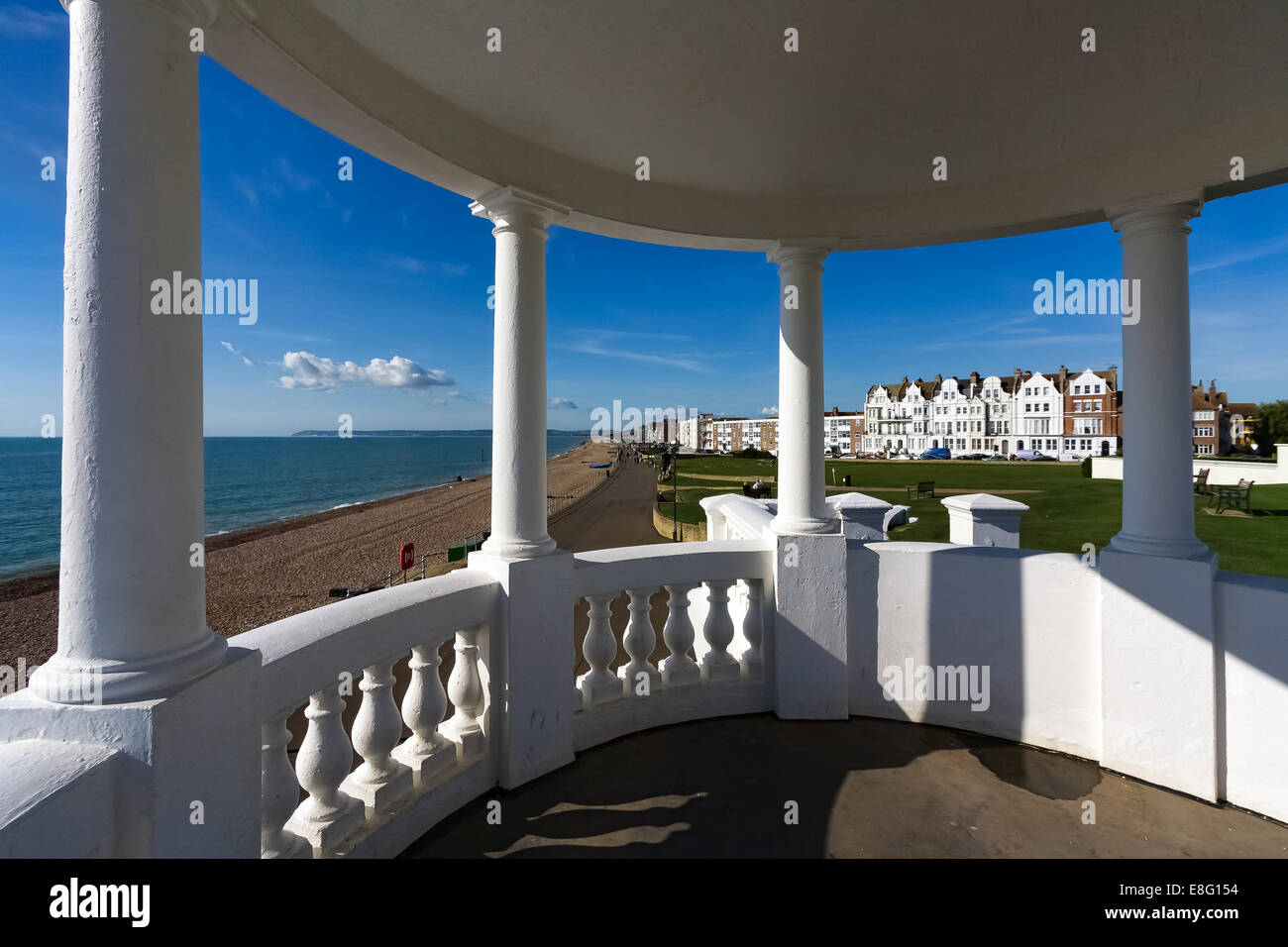 View from a colonnade in the grounds of the De la Warr Pavillion - Stock Image