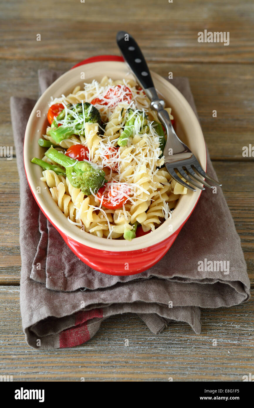 Pasta with roasted broccoli, delicious food - Stock Image