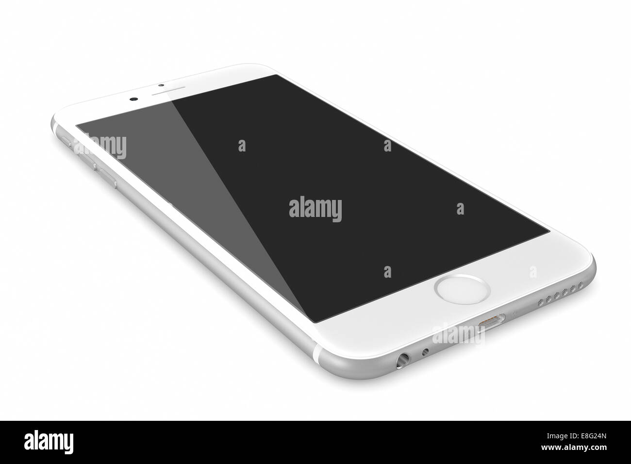 New Silver Smartphone with blank screen on white background - Stock Image