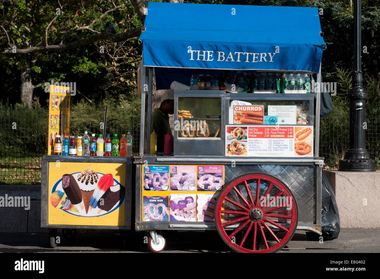 Street Vendor Food Cart, Castle Clinton, Battery Park, USA. Castle Clinton National Monument Battery Park New York Stock Photo