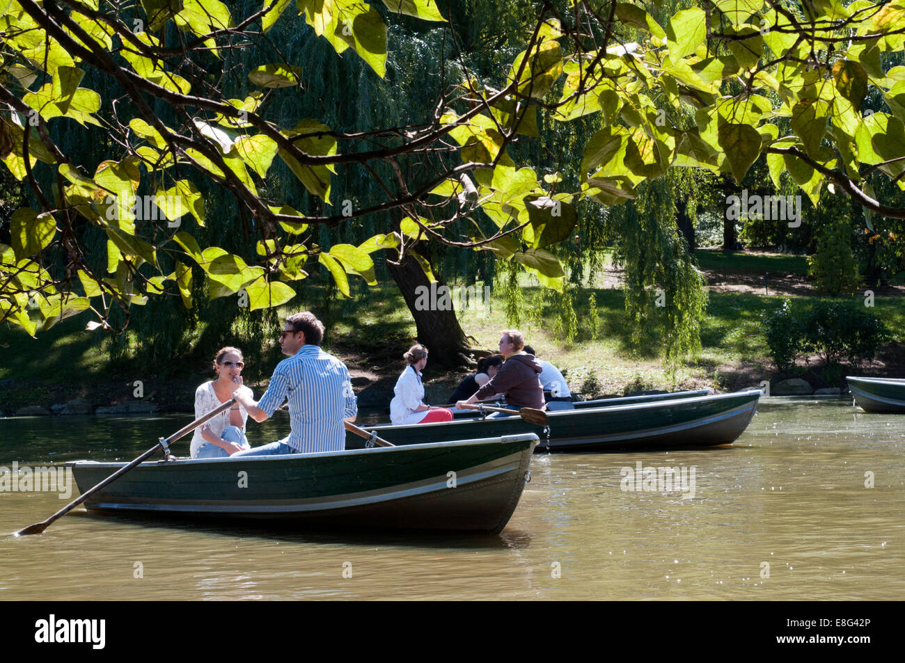 Central Park. Boats in The Lake. New York. NY. Romantic lovers. This lake is located south of the Great Lawn and - Stock Image