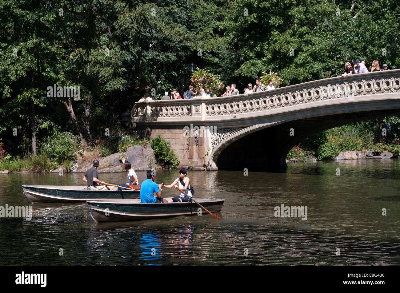Central Park. Boats in The Lake. New York. Bridge. NY. Romantic lovers. This lake is located south of the Great - Stock Image