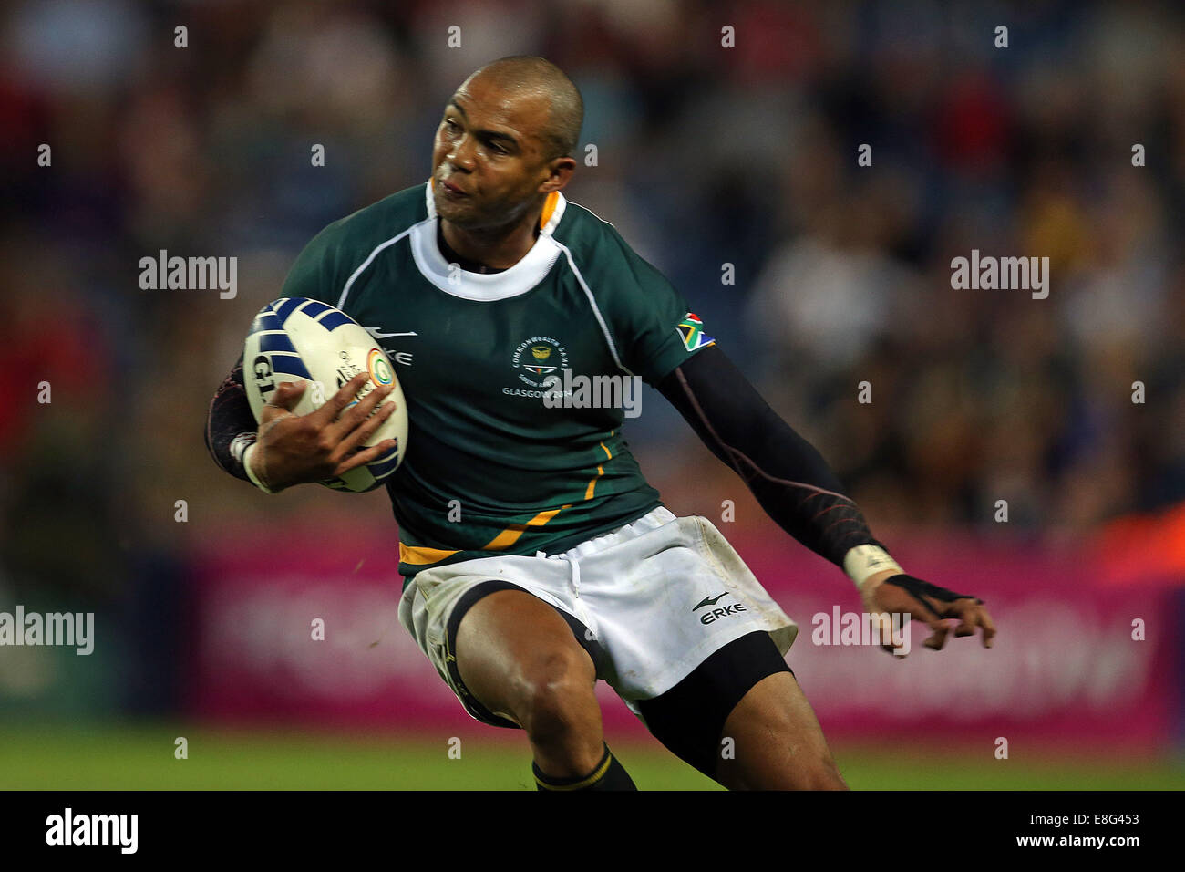 Cornal Hendricks (RSA) in action. South Africa v New Zealand  - Rugby Sevens FinalIbrox stadium - Glasgow - Scotland, - Stock Image