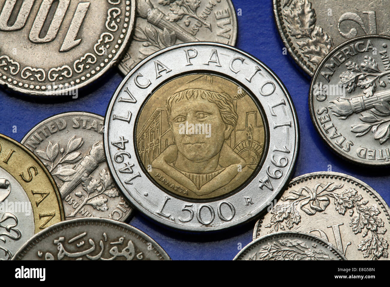 Coins of Italy. Italian Renaissance mathematician Luca Pacioli depicted in the old Italian 500 lira coin. - Stock Image