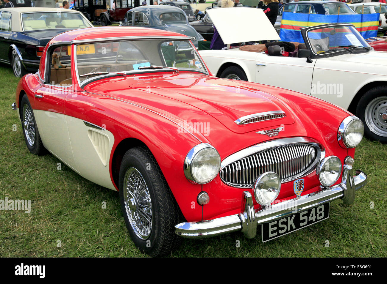 A Classic Vintage 1962 Austin Healey 3000 Sports Car On Display At The Cromford Steam Rally