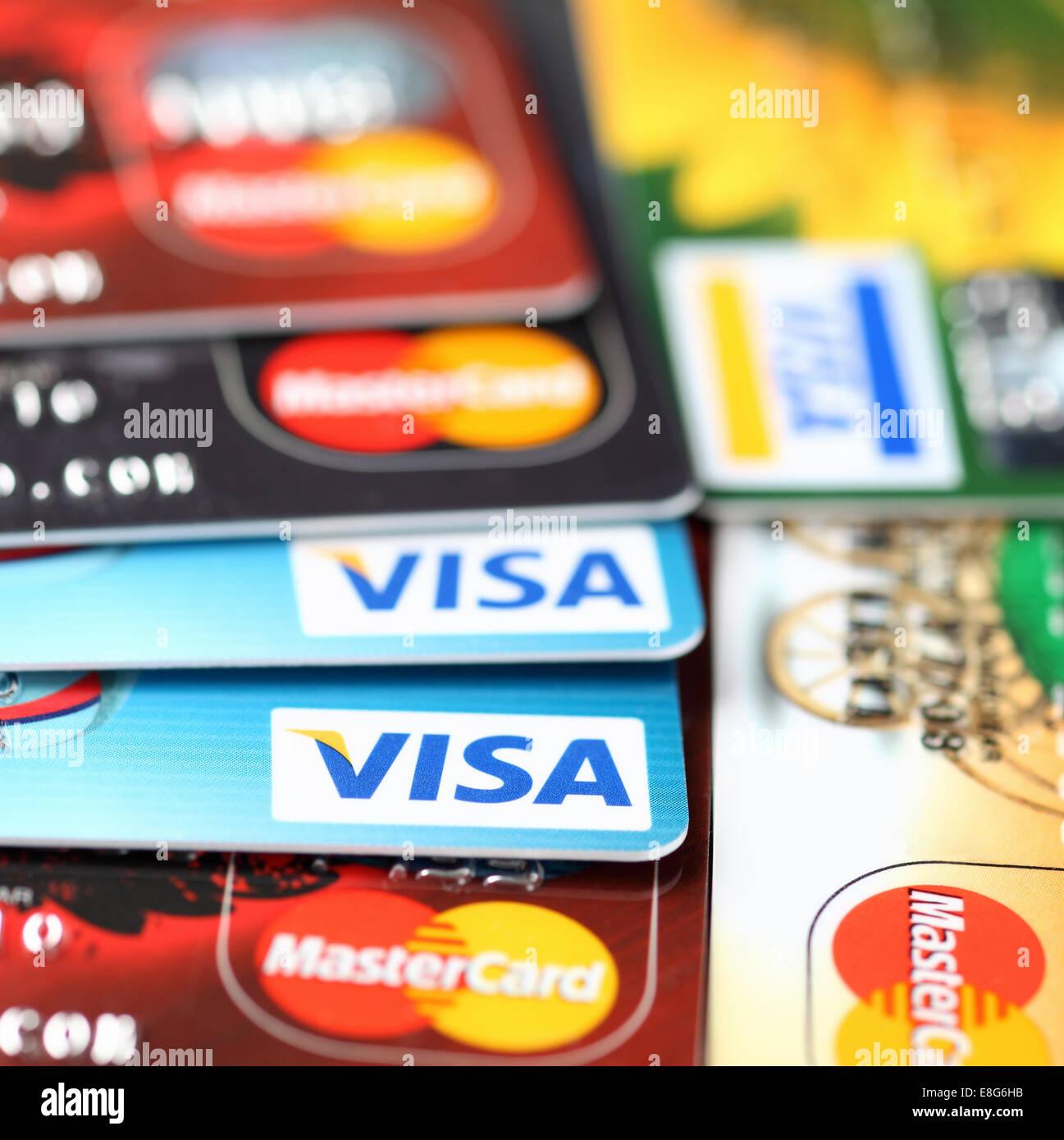Tambov, Russian Federation - September 11, 2012 Visa and Mastercard logos on credit cards. Studio shot. Stock Photo