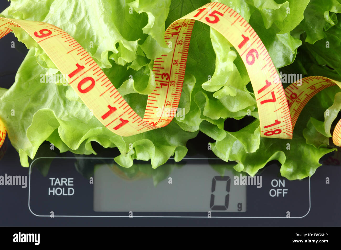 Green lettuce and tape measure in a black plate on digital scale displaying 0 gram. - Stock Image