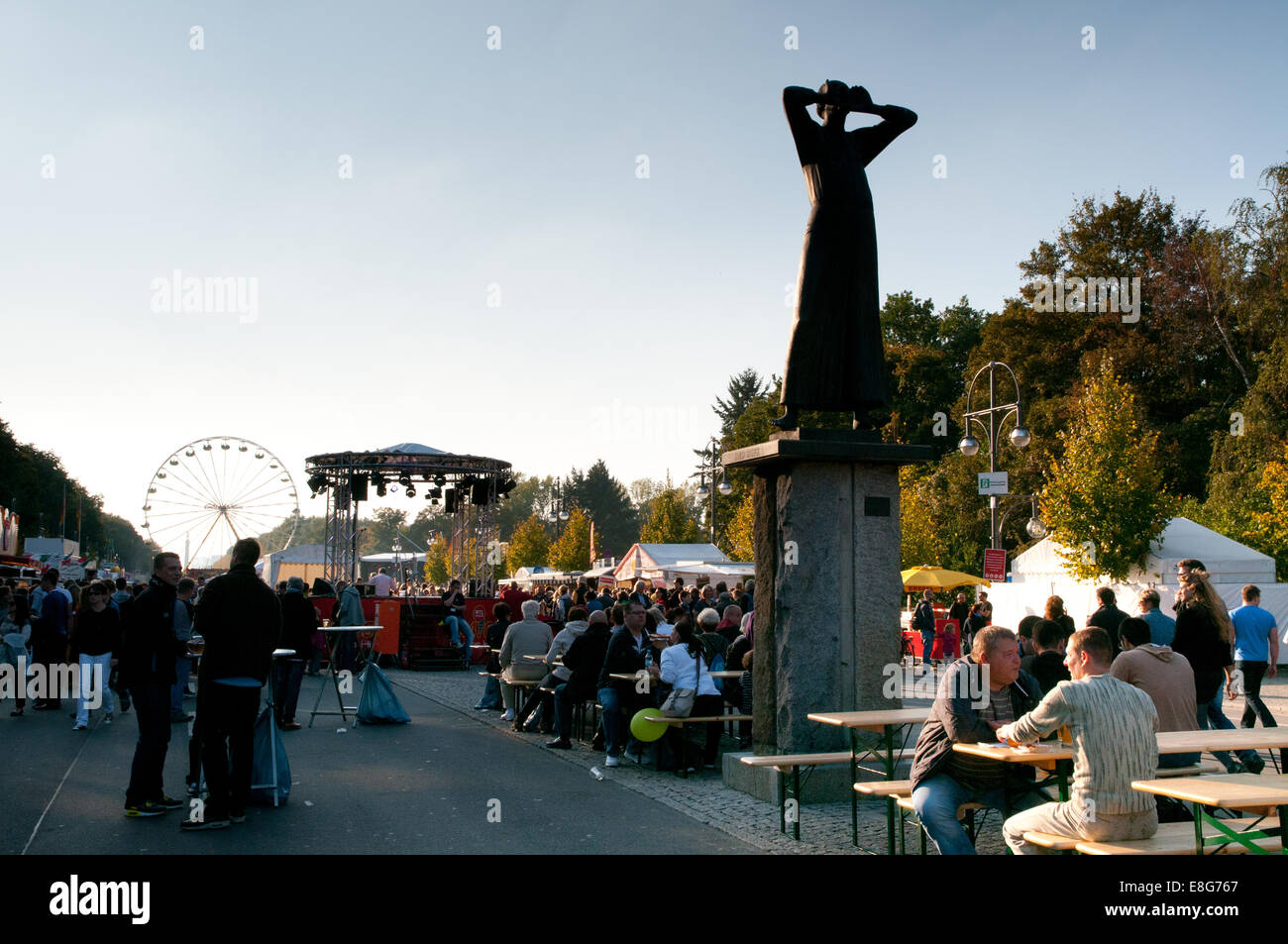 Street party celebrating German Unity Day in Berlin - Stock Image