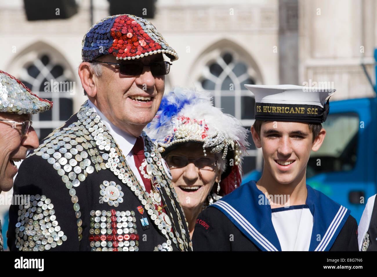 Pearly Kings and Queens known as pearlies London England - Stock Image