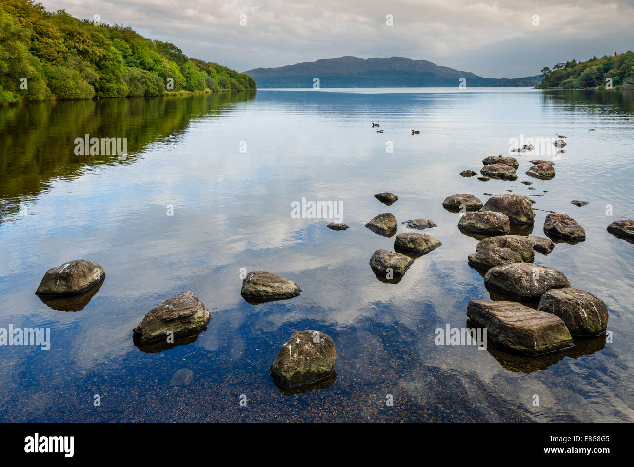Lough Gill from Hazlewood Forest Recreation area in the early evening, Sligo, County Sligo, Republic of Ireland - Stock Image