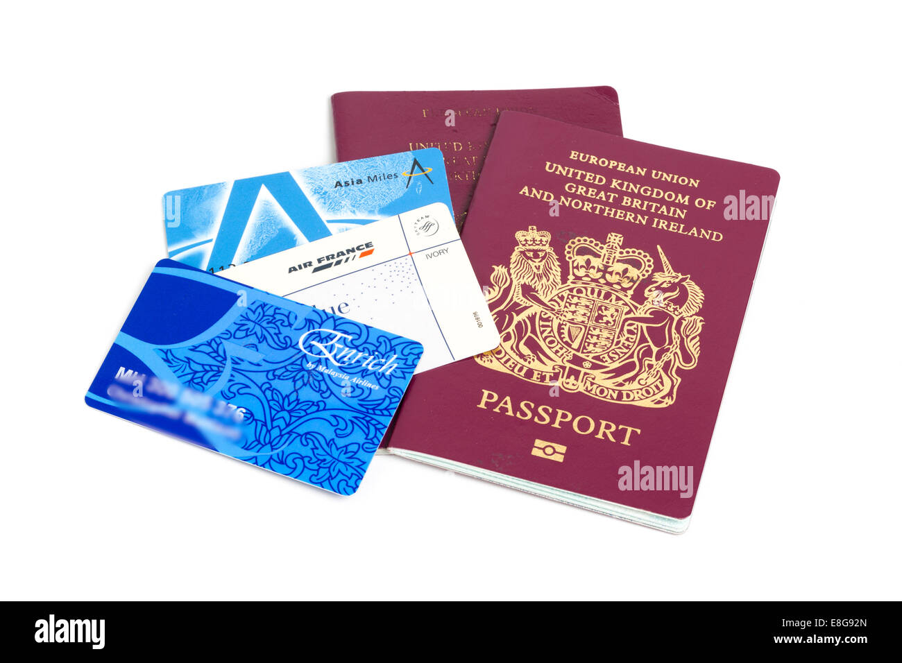 UK or British passports and frequent flier cards - Stock Image
