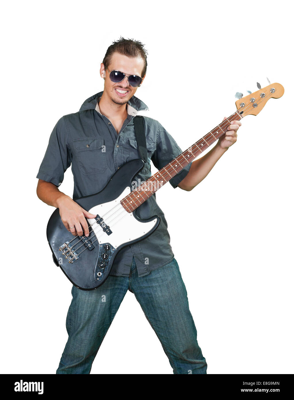 bass guitar player isolated stock photos bass guitar player isolated stock images alamy. Black Bedroom Furniture Sets. Home Design Ideas