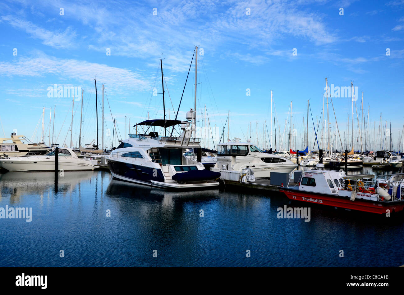 Boats in DuSable Harbour / Harbor - Stock Image