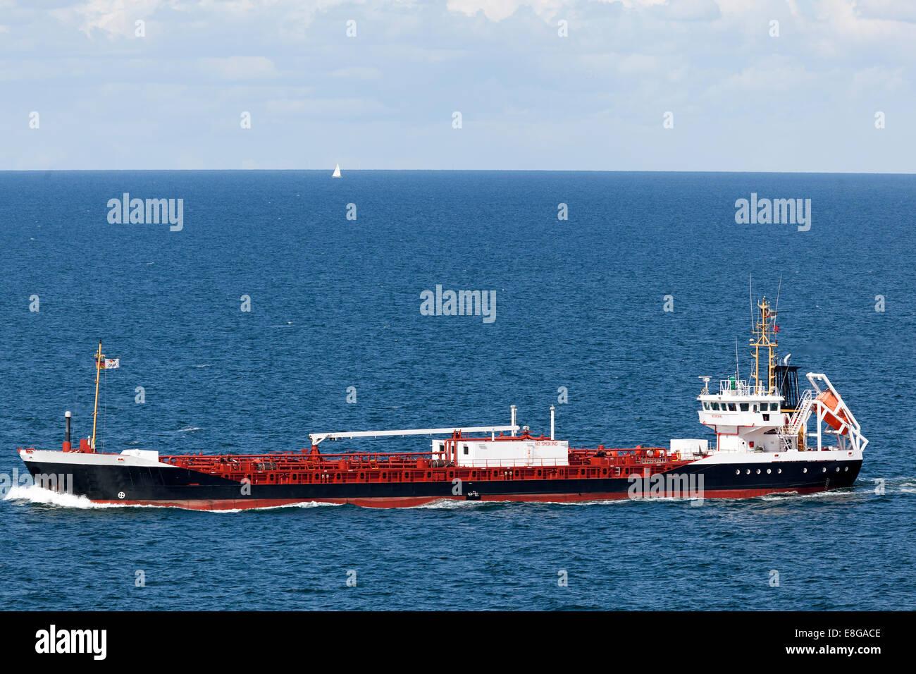Freight vessel on the Baltic Sea near the Island of Langeland, Denmark Stock Photo