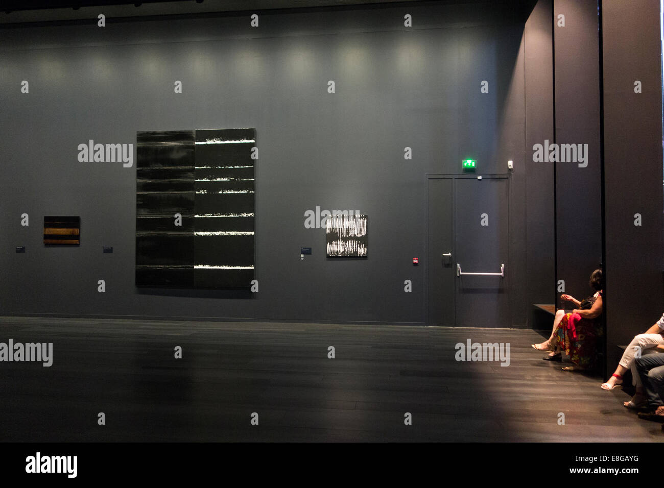 Gallery of the Soulages Museum showing art works exhibition by local French artist Pierre Soulages in Rodez Aveyron - Stock Image