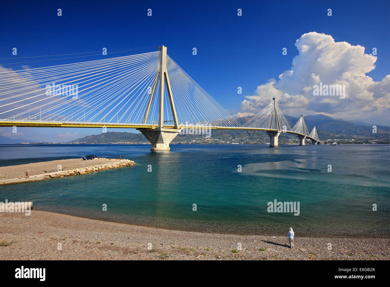 The cable-stayed bridge of Rio-Antirio, as seen from the castle of Antirio, Municipality of Nafpaktos, Aitoloakarnania, - Stock Image