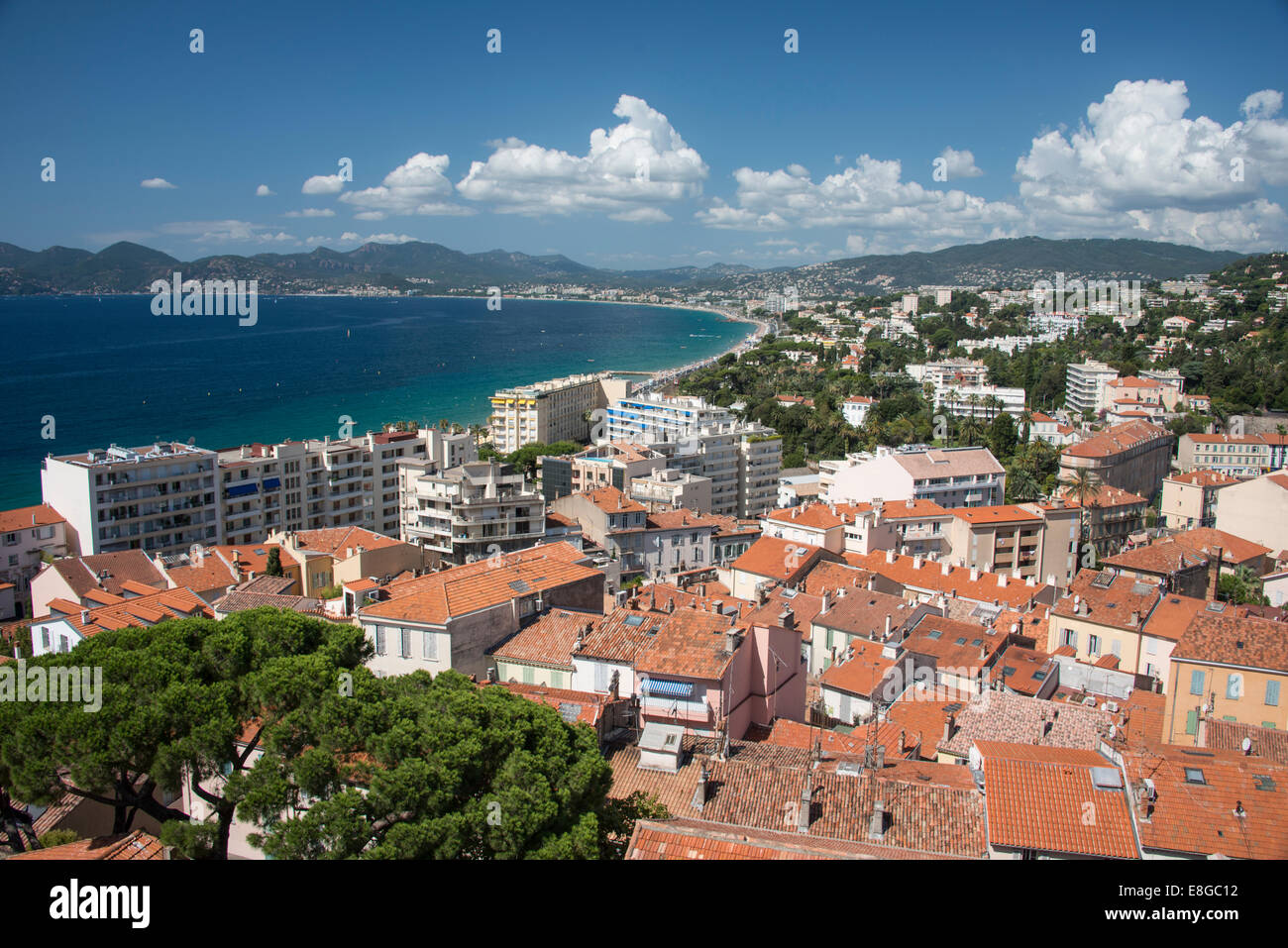 View from above of city of Cannes site of Film Festival on the Mediterranean Coast of the French Riviera South of - Stock Image