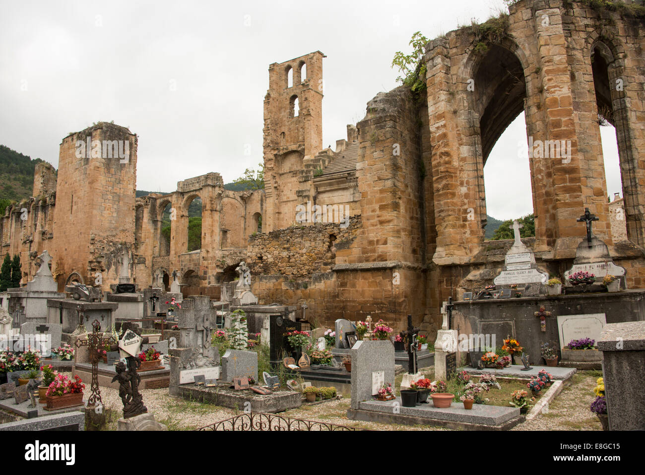 ruins of ninth century Benedictine abbey of Notre Dame in village of Alet les Bains in Aude France - Stock Image