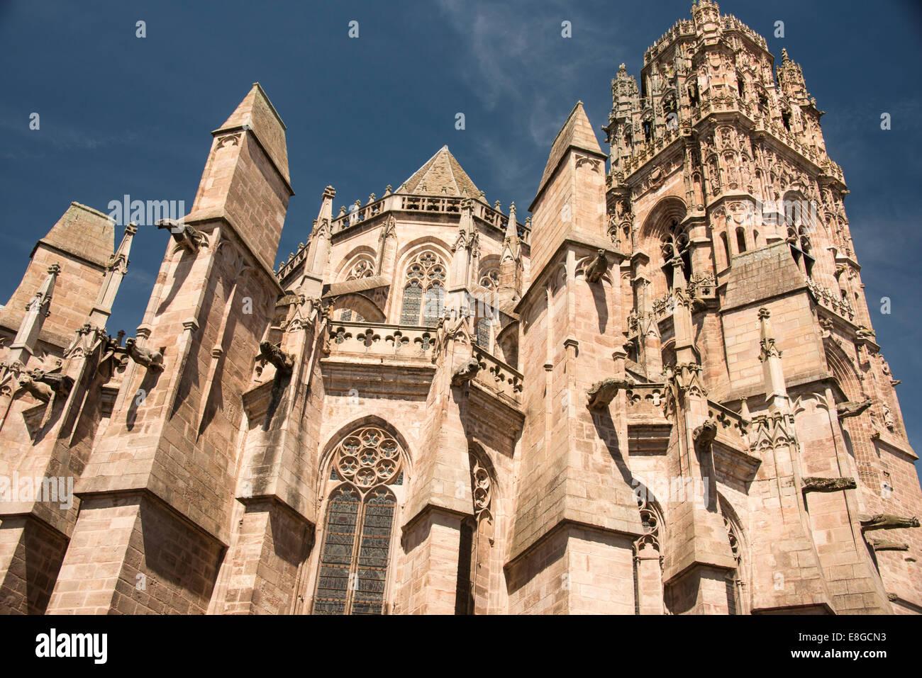 gargoyles of Cathedral Notre Dame; Rodez; Aveyron ; France - Stock Image