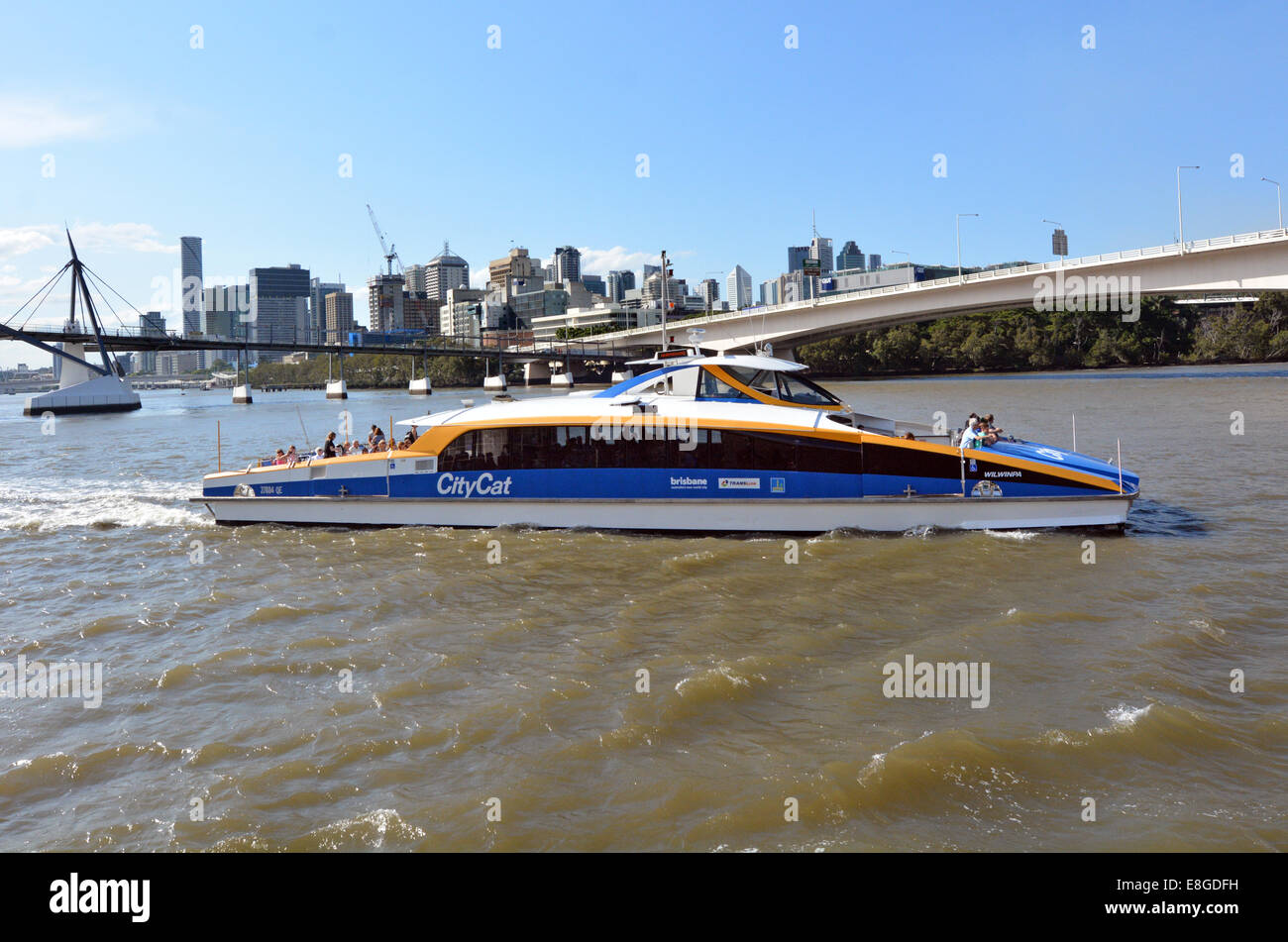 BRISBANE, AUS - SEP 24 2014:CityCat and ferry service in Brisbane, Australia.It's a river ferries travel the - Stock Image