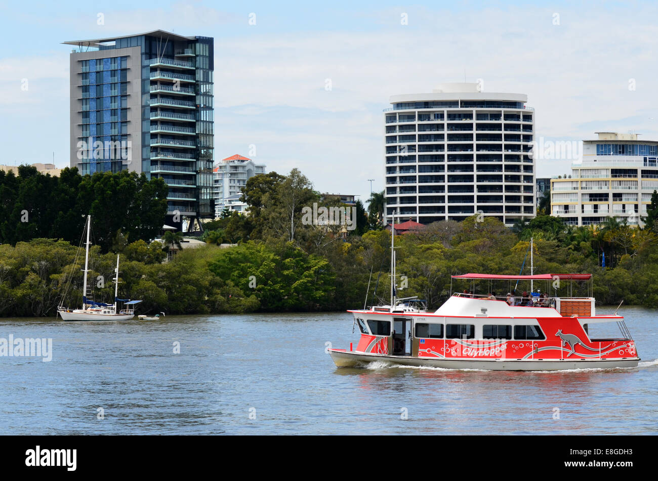 BRISBANE, AUS - SEP 24 2014:CityHopper ferry service in Brisbane, Australia.CityHopper service allows discover Brisbane - Stock Image