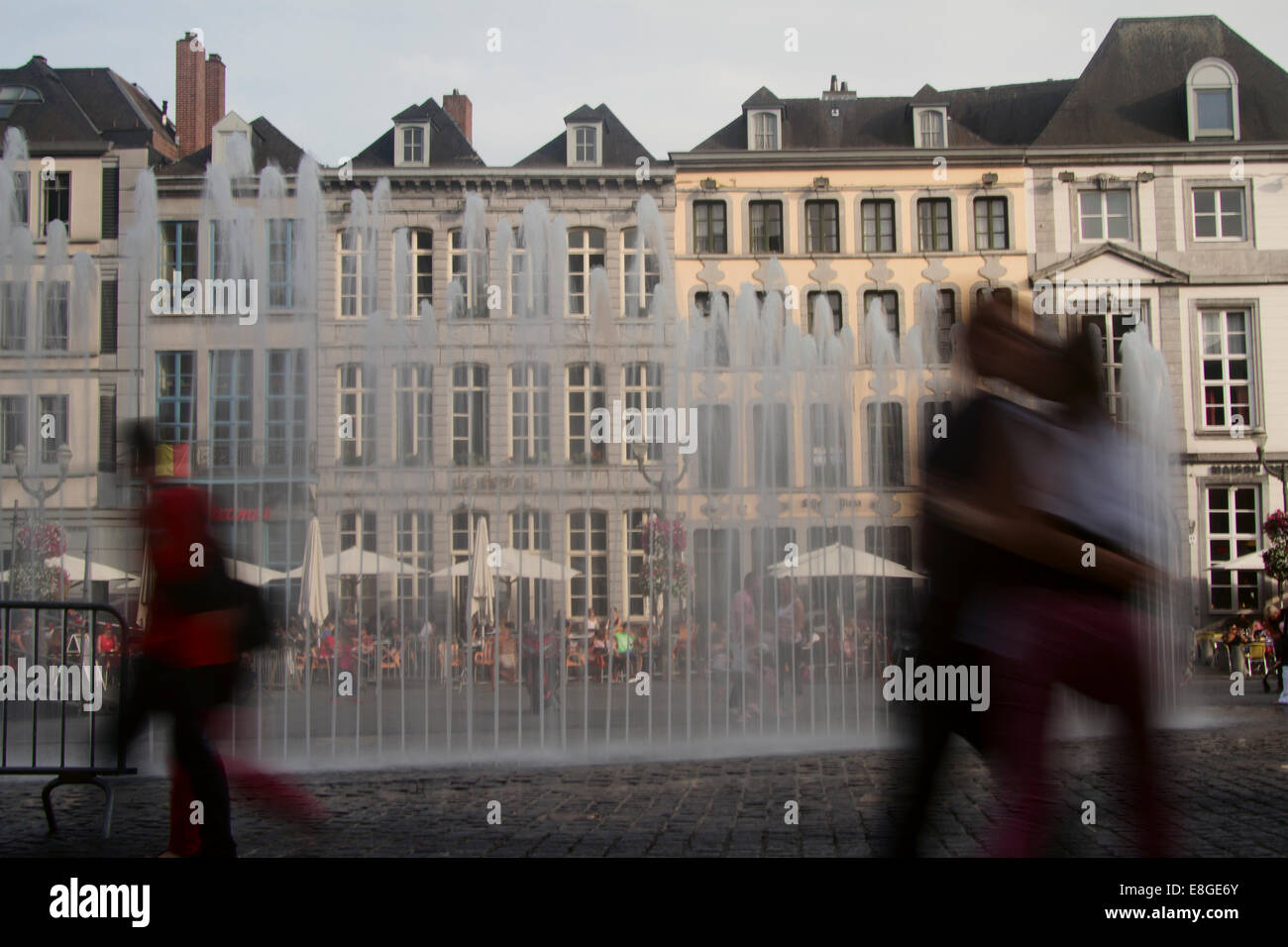 Fountains at Grand Place , Mons , Belgium - Stock Image