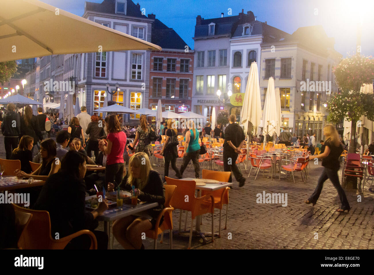 Night Lifestyle at Grand Place , Mons , Belgium - Stock Image