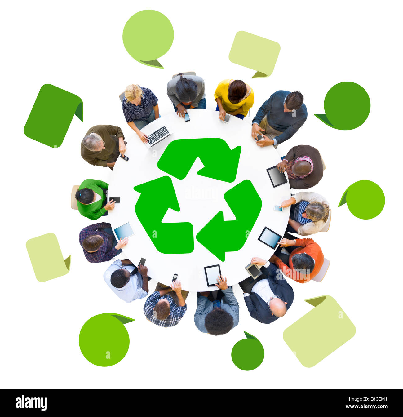 Group of People Using Digital Devices with Recycle Symbol - Stock Image