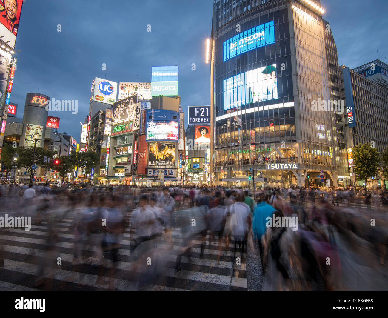 Hachiko Scramble Pedestrian Crossing, Shibuya, Tokyo, Japan. Busiest pedestrian crossing in the world. Stock Photo
