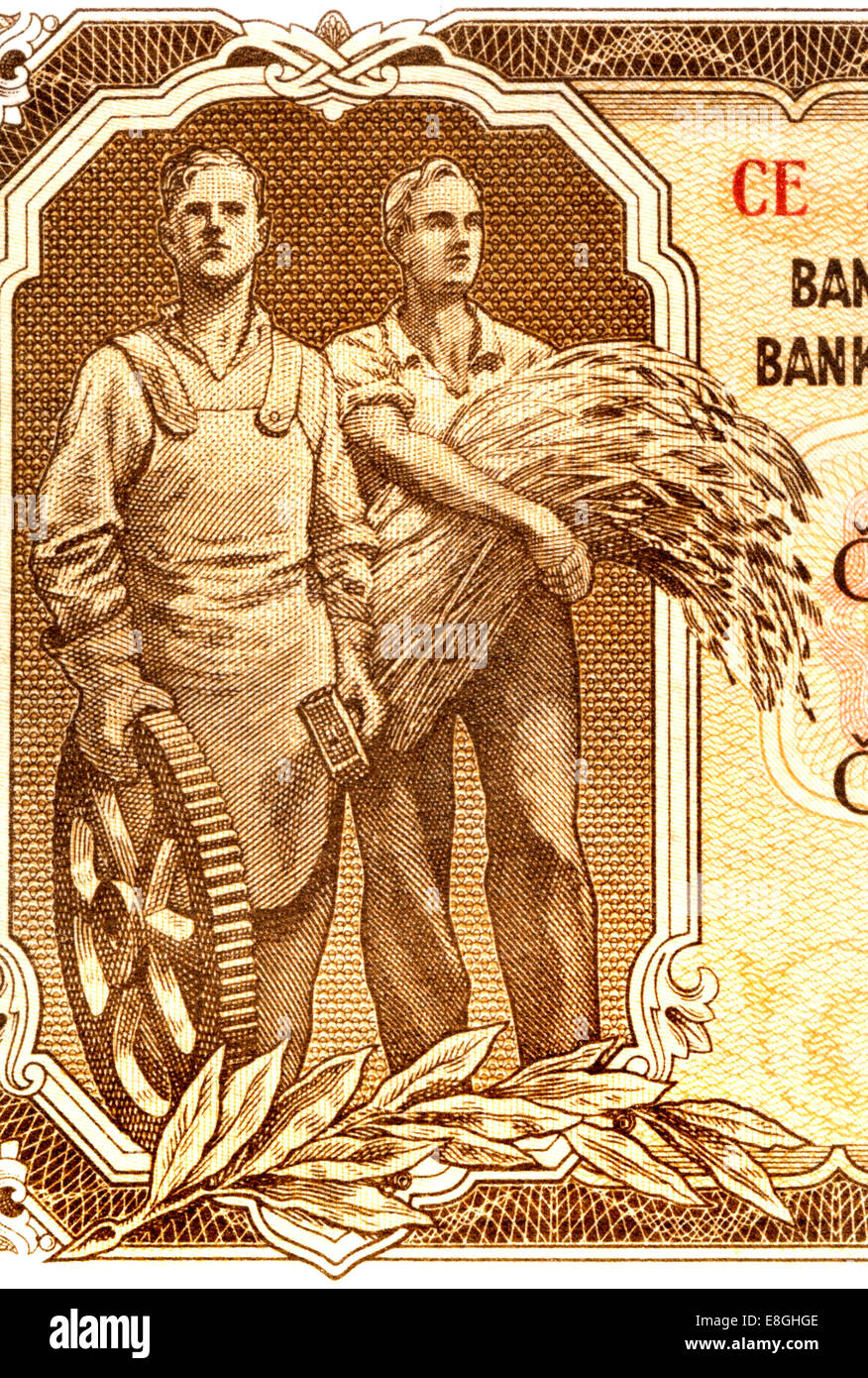 Detail from a 1953 Czechoslovakian 100 crown / Korun banknote showing an engineer and a farmer - Stock Image