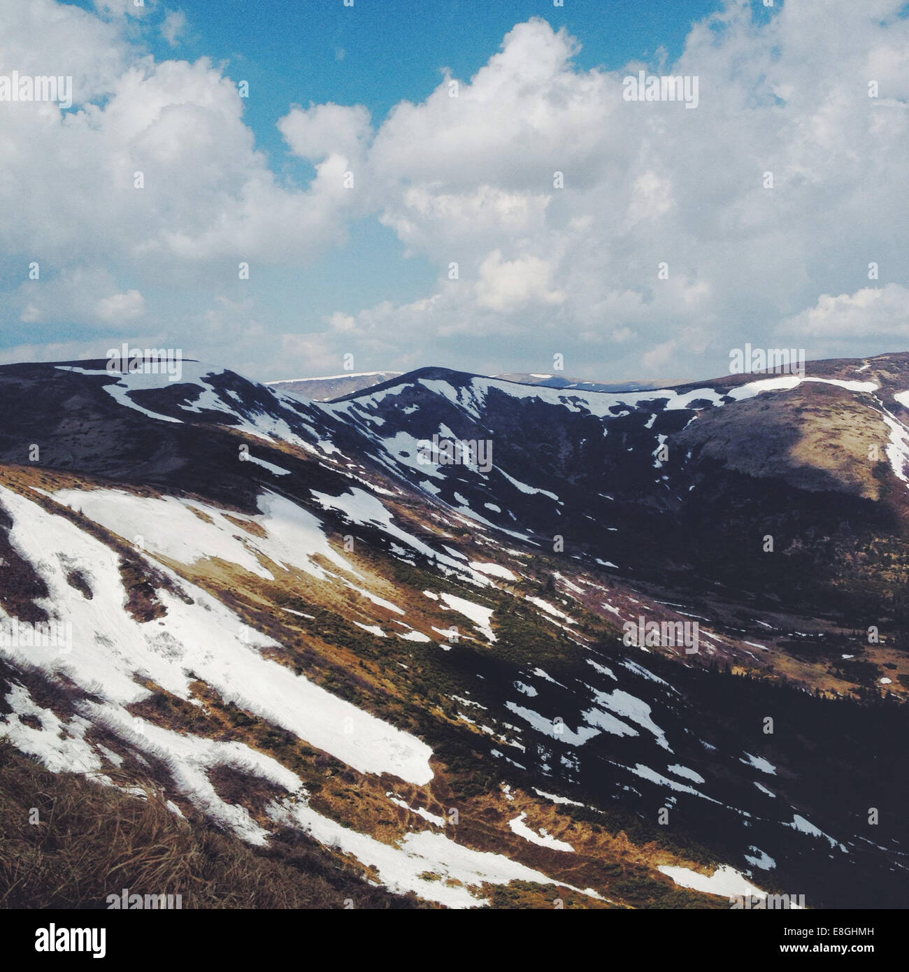 Mountains in snow - Stock Image
