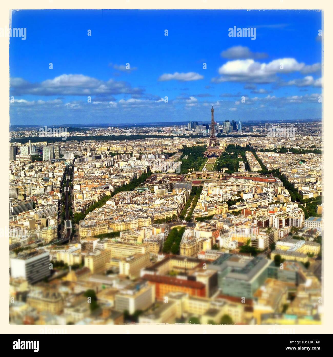 Paris, Ile-de-France, Paris skyline seen from Tour Montparnasse 56 - Stock Image