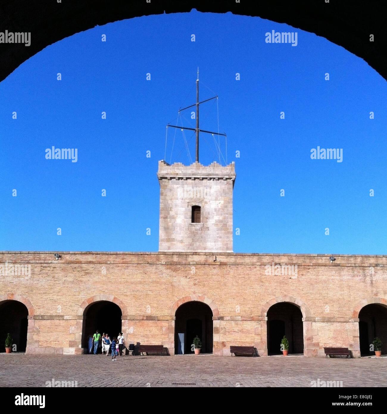 Spain, Catalonia, Barcelona, View of Montjuic castle - Stock Image