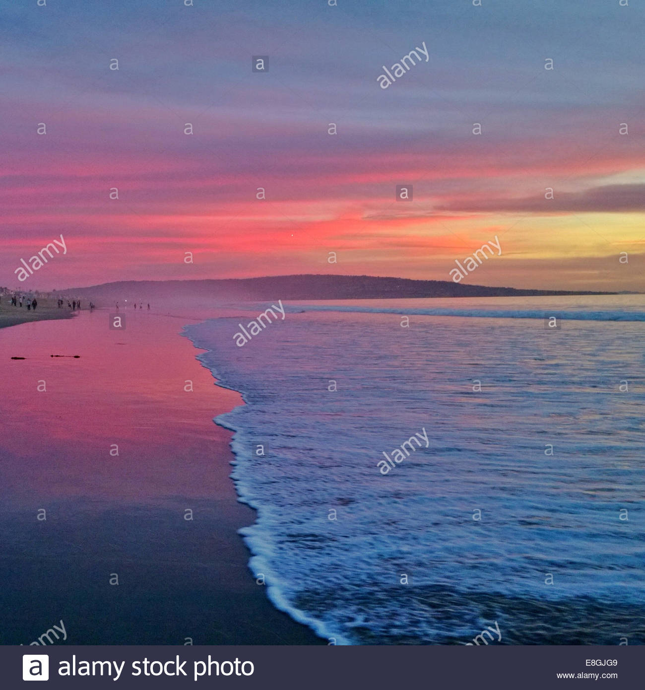 Landscape with pink sunset - Stock Image