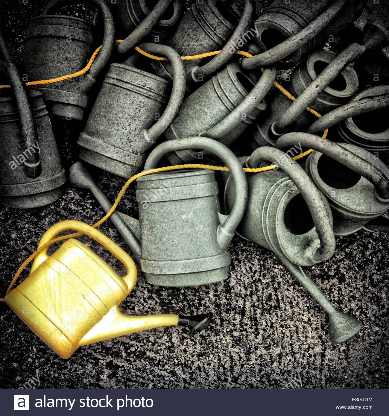 Watering cans, close up - Stock Image