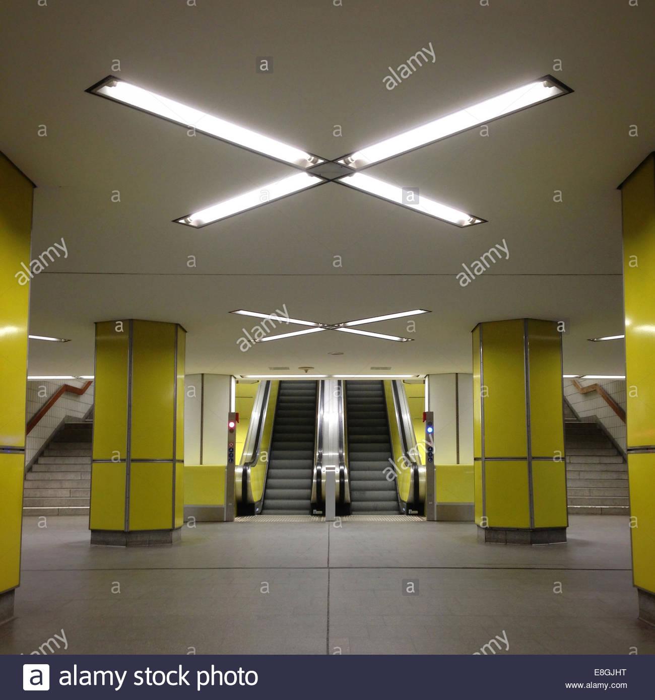 Interior of underground train station, Hamburg, Germany - Stock Image