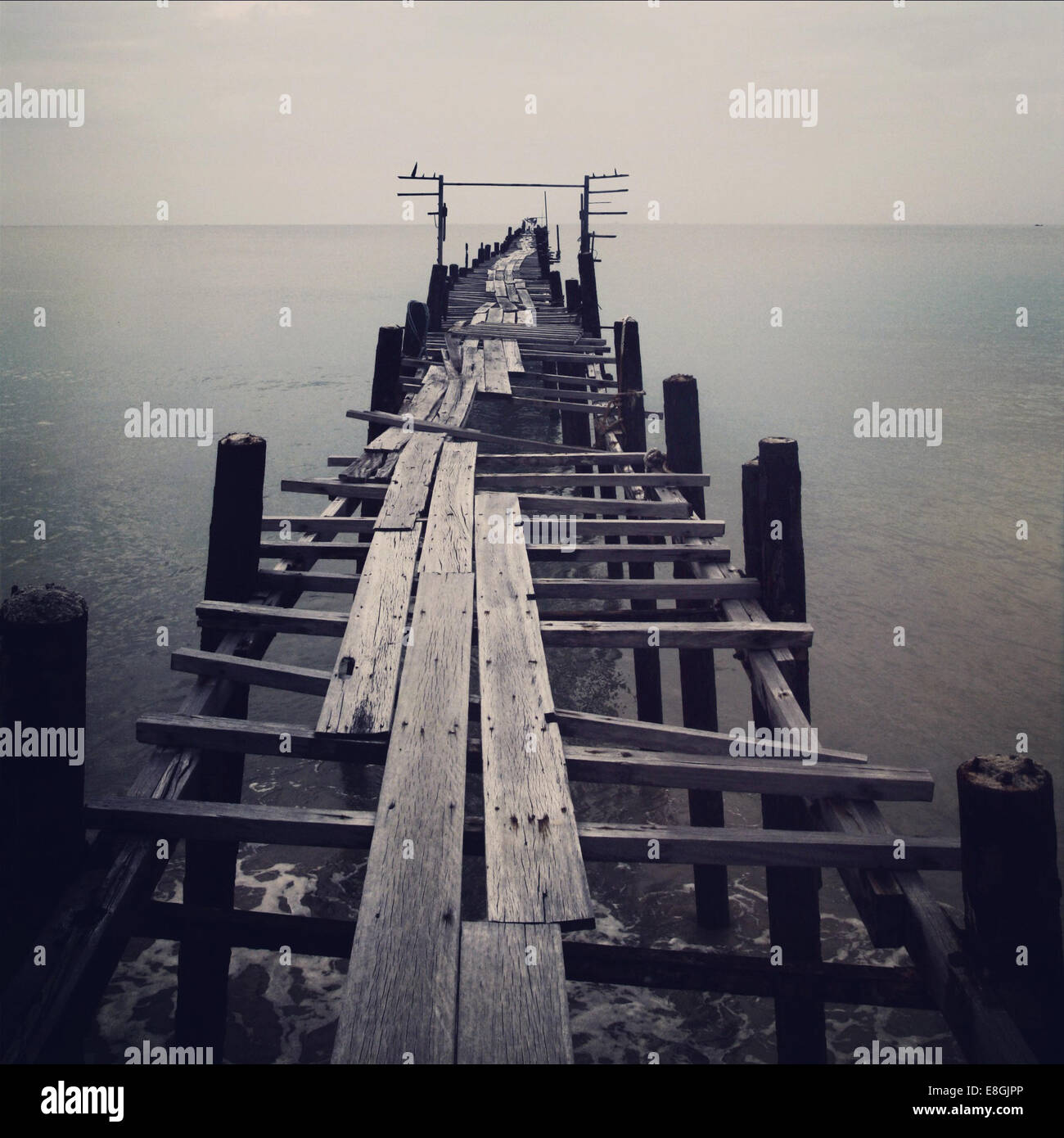 Old abandoned pier - Stock Image
