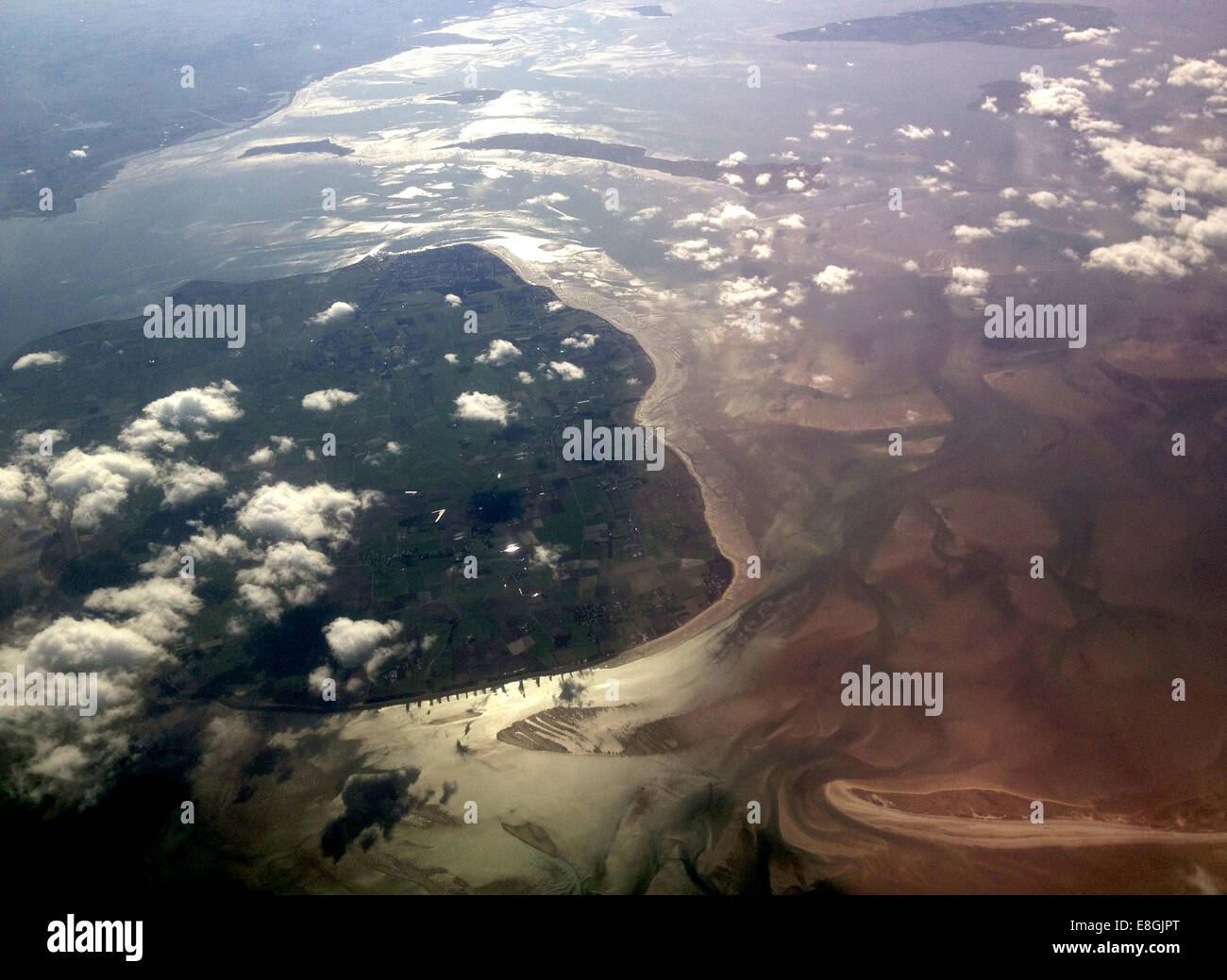 Denmark coast seen from air with clouds - Stock Image