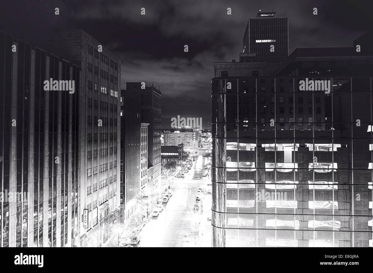 Cityscape at night, Indianapolis, Indiana, America, USA - Stock Image