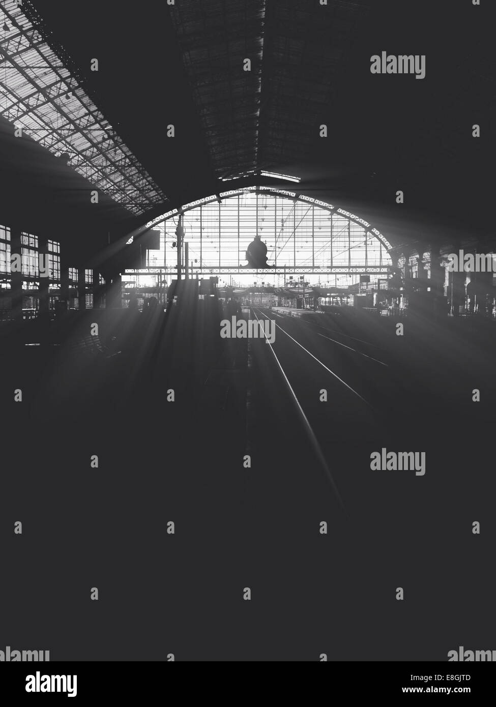 France, Aquitaine, Gironde, Bordeaux, Backlit train station - Stock Image