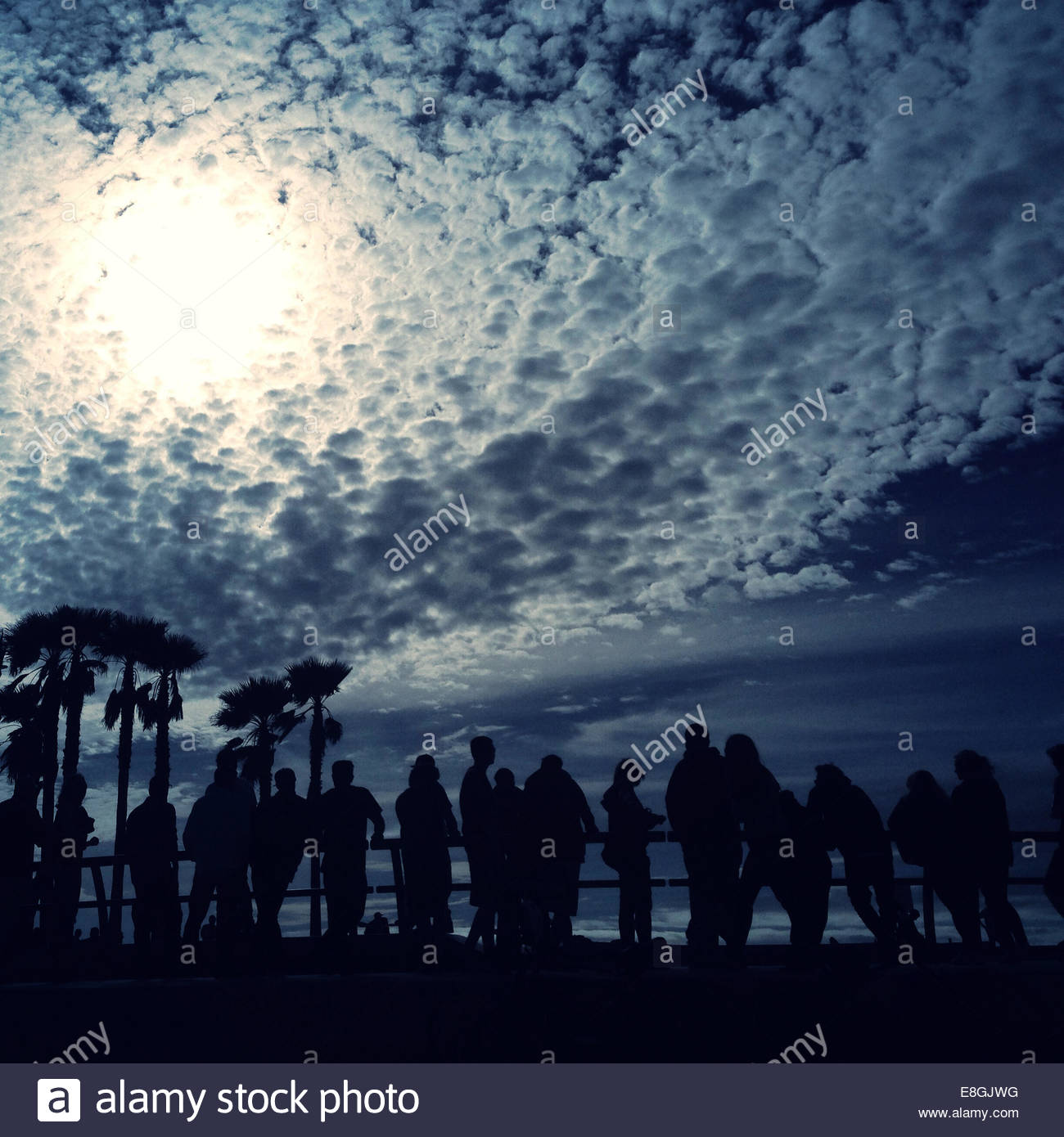 Crowd standing of people by railing - Stock Image