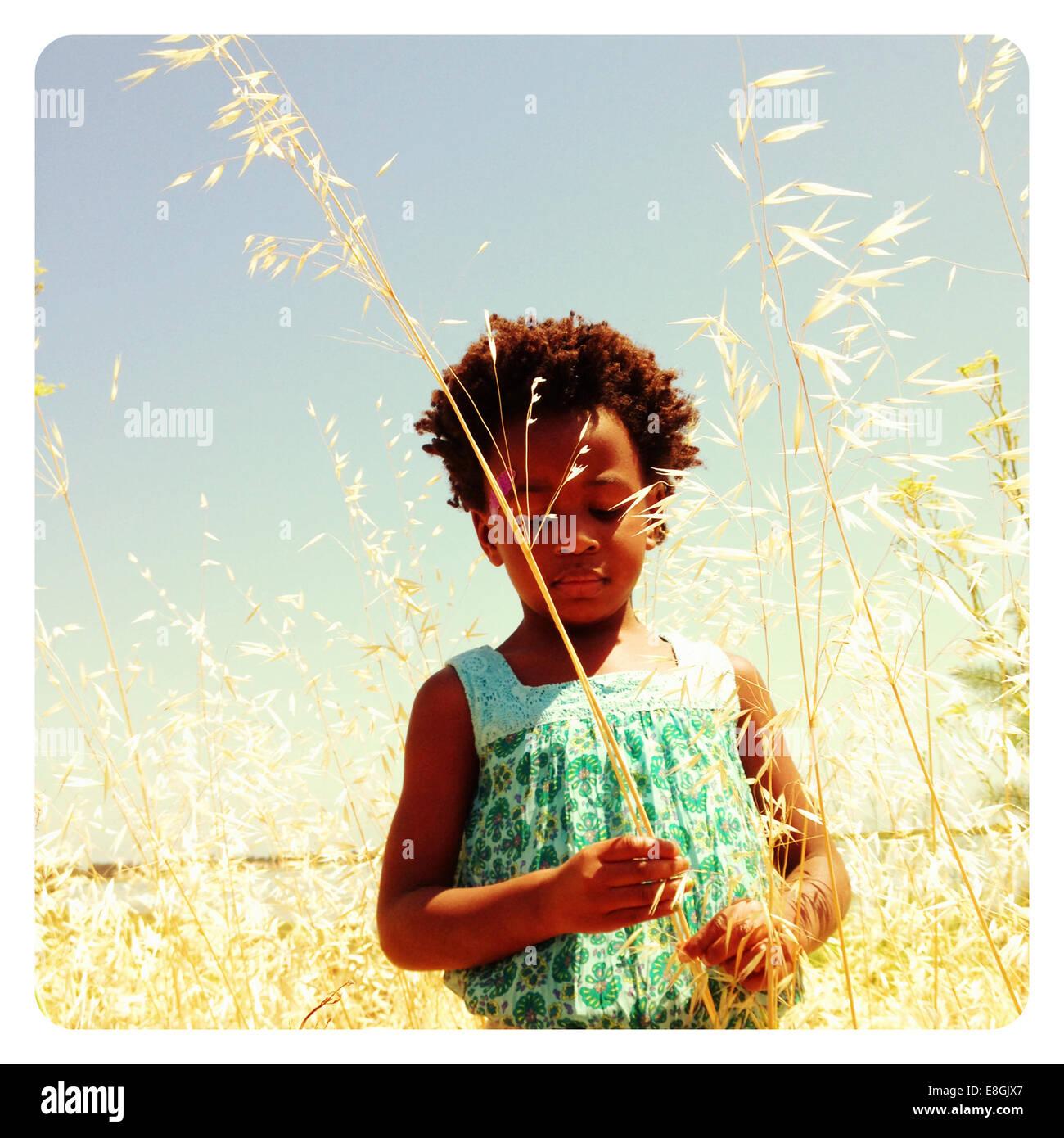USA, California, San Mateo County, Burlingame, Girl standing in grass - Stock Image