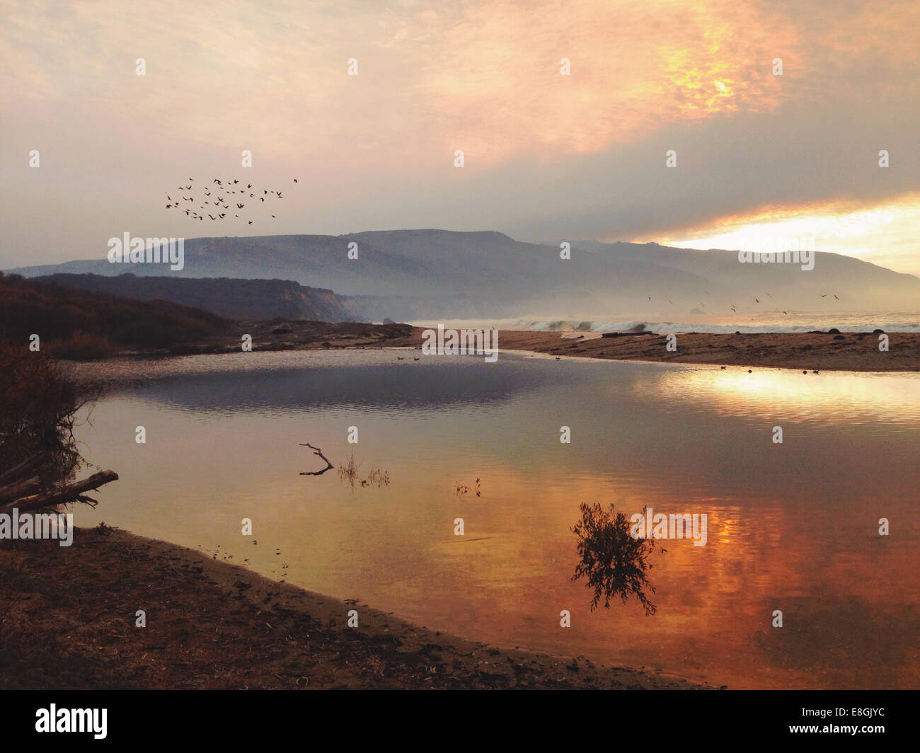 USA, California, Monterey County, Big Sur, Sunset - Stock Image